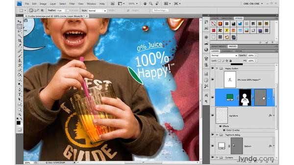 Clipping an effect with a mask: Photoshop CS4 One-on-One: Advanced
