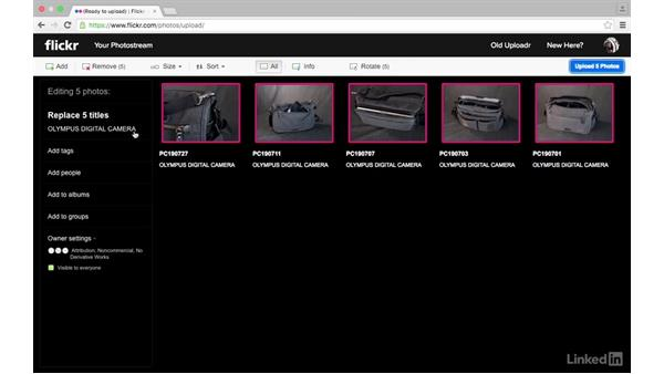 Use the web browser to upload from a memory card: Sharing Photos with Flickr
