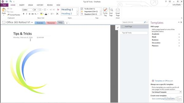 Use and customize page templates: OneNote 2013: Prepare for the Microsoft Office Specialist Certification Exam (77-421)