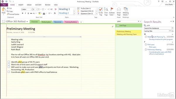 Search for content in OneNote: OneNote 2013: Prepare for the Microsoft Office Specialist Certification Exam (77-421)