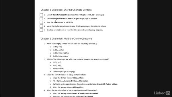 Challenge: Share and collaborate with others: OneNote 2013: Prepare for the Microsoft Office Specialist Certification Exam (77-421)