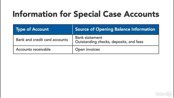 Open balance info for special cases: QuickBooks: Setting up a Company File In Depth