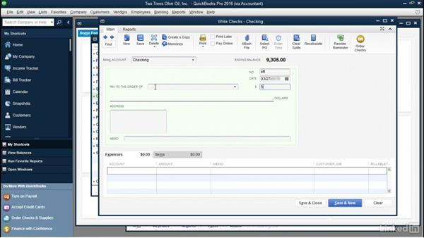 Record uncleared bank transactions: QuickBooks: Setting up a Company File In Depth