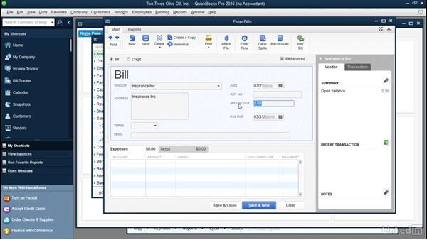 Enter unpaid bills for accounts payable: QuickBooks: Setting up a Company File In Depth