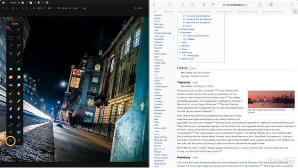 Work in Split View: Learning Pixelmator