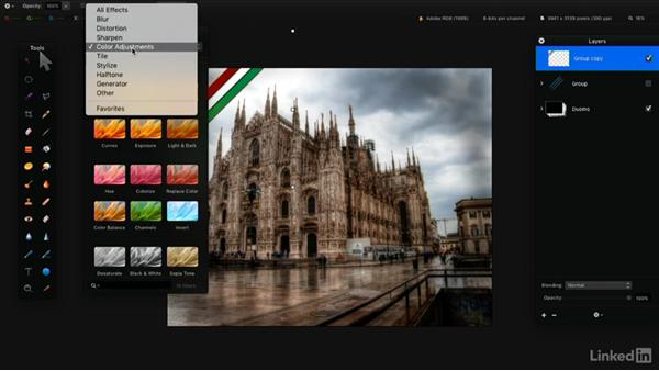 Arrange, group, or merge layers: Learning Pixelmator