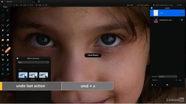 Remove blemishes in a photo: Learning Pixelmator