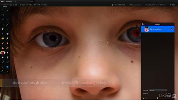 Remove red-eye in a photo: Learning Pixelmator