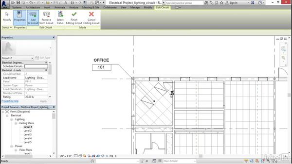 Creating a lighting circuit: Revit 2017: Essential Training for MEP (Imperial)