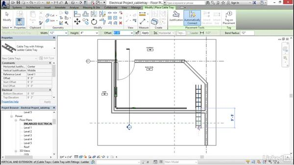 Adding cable tray: Revit 2017: Essential Training for MEP (Imperial)