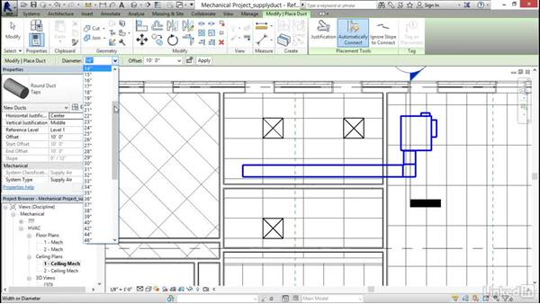 Adding a supply duct: Revit 2017: Essential Training for MEP (Imperial)