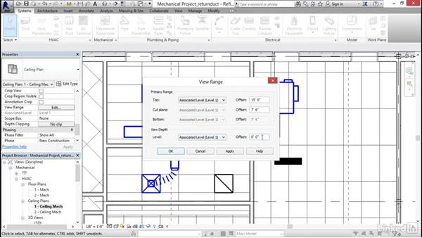 Adding a return duct: Revit 2017: Essential Training for MEP (Imperial)