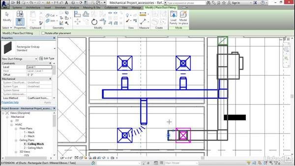 Adding duct accessories and fittings: Revit 2017: Essential Training for MEP (Imperial)