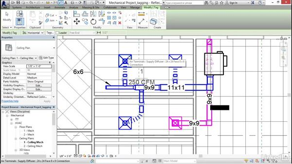 Tagging a duct: Revit 2017: Essential Training for MEP (Imperial)