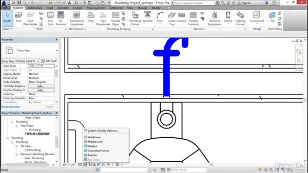 Adding sanitary sloped piping: Revit 2017: Essential Training for MEP (Imperial)