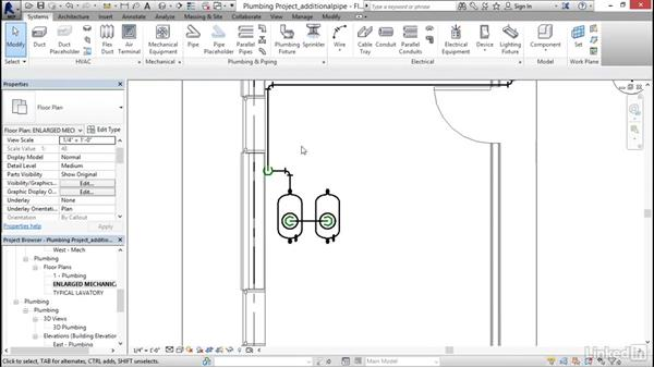 Adding additional piping: Revit 2017: Essential Training for MEP (Imperial)