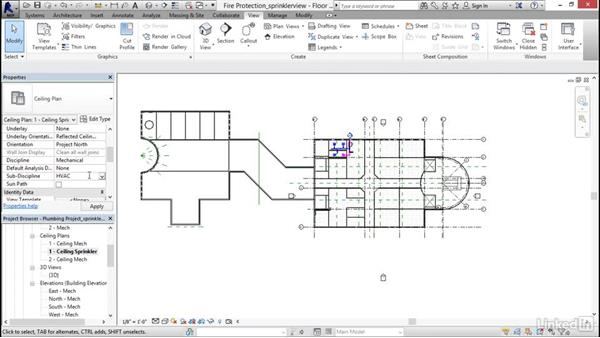 Creating a sprinkler view: Revit 2017: Essential Training for MEP (Imperial)