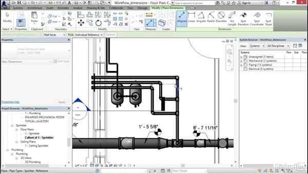 Working with dimensions: Revit 2017: Essential Training for MEP (Imperial)
