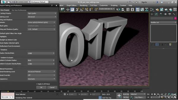 Defining per-view settings and preferences: 3ds Max 2017 New Features