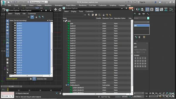 Managing operands with the Boolean Explorer: 3ds Max 2017 New Features