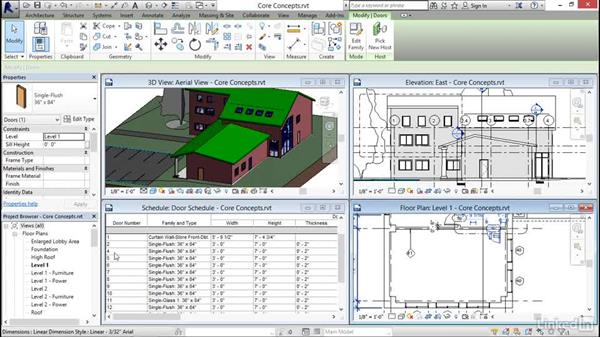 Working in one model with many views: Revit 2017: Essential Training for Architecture (Imperial)