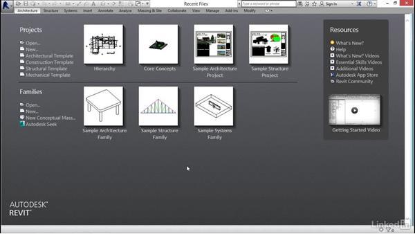 Using the Recent Files menu: Revit 2017: Essential Training for Architecture (Imperial)