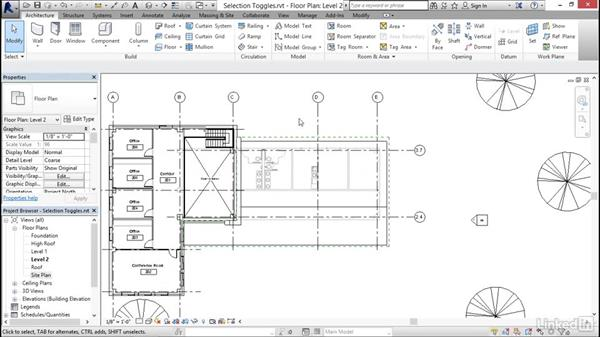 Understanding selection toggles: Revit 2017: Essential Training for Architecture (Imperial)