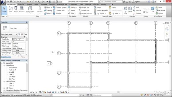 Adding columns: Revit 2017: Essential Training for Architecture (Imperial)
