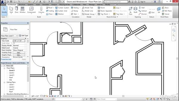 Adding doors and windows: Revit 2017: Essential Training for Architecture (Imperial)