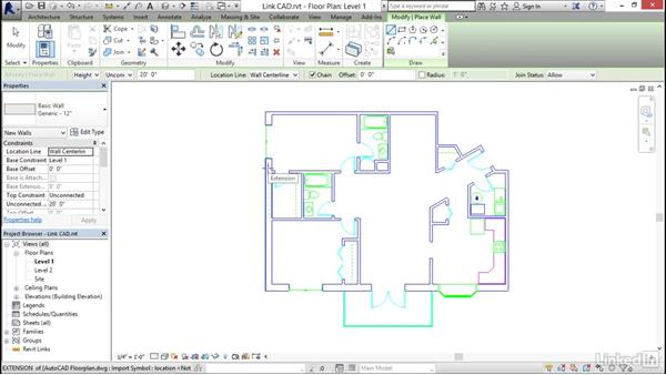 Linking AutoCAD DWG files: Revit 2017: Essential Training for Architecture (Imperial)