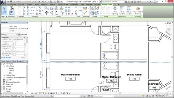 Mirroring groups to create a layout: Revit 2017: Essential Training for Architecture (Imperial)