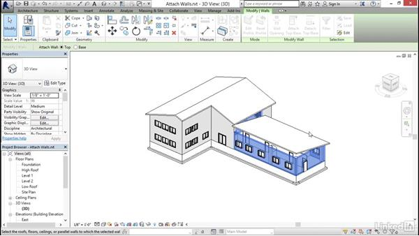 Attaching walls to roofs: Revit 2017: Essential Training for Architecture (Imperial)
