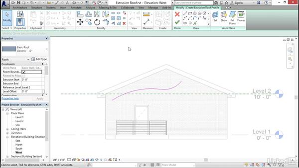 Creating extrusion roofs: Revit 2017: Essential Training for Architecture (Imperial)