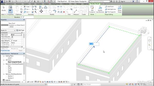 Using the shape editing tools to create a flat roof: Revit 2017: Essential Training for Architecture (Imperial)
