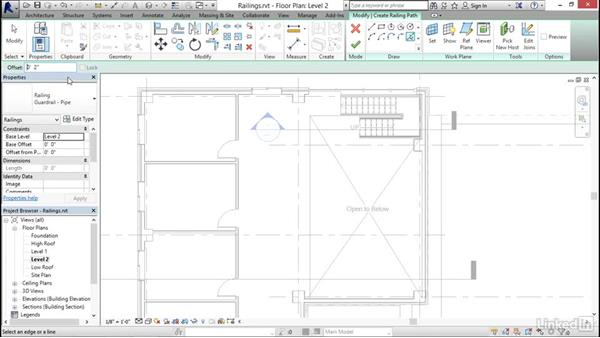 Adding railings to stairs: Revit 2017: Essential Training for Architecture (Imperial)