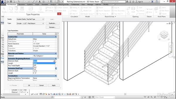 Adding extensions to railings: Revit 2017: Essential Training for Architecture (Imperial)