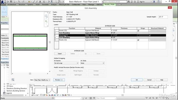 Creating a custom basic wall type: Revit 2017: Essential Training for Architecture (Imperial)