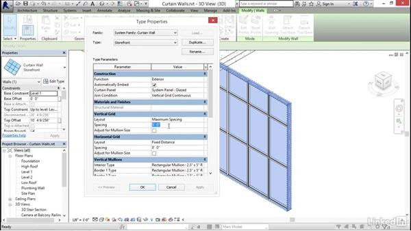 Adding curtain walls: Revit 2017: Essential Training for Architecture (Imperial)