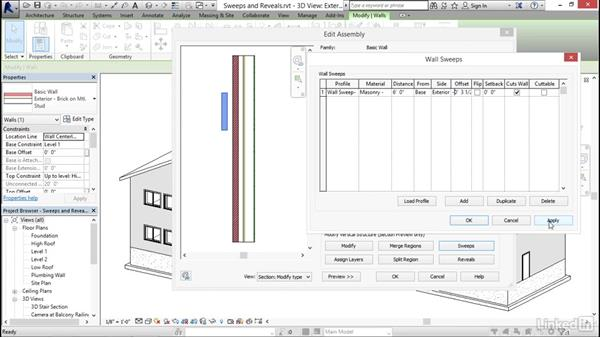 Creating wall sweeps and reveals: Revit 2017: Essential Training for Architecture (Imperial)