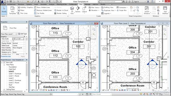 Using view templates: Revit 2017: Essential Training for Architecture (Imperial)