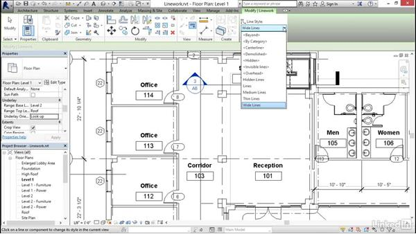 Using the Linework tool: Revit 2017: Essential Training for Architecture (Imperial)