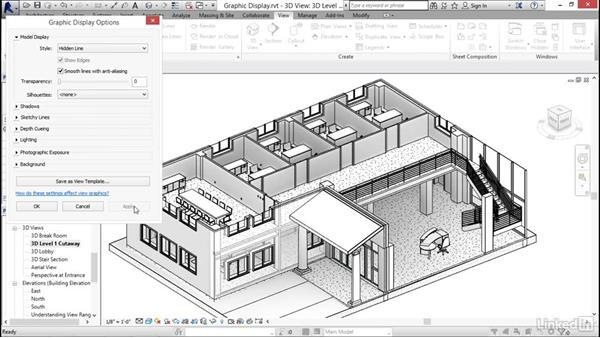 Using graphical display options: Revit 2017: Essential Training for Architecture (Imperial)