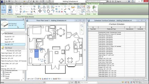 Adding schedule views: Revit 2017: Essential Training for Architecture (Imperial)