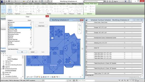 Modifying schedule views: Revit 2017: Essential Training for Architecture (Imperial)