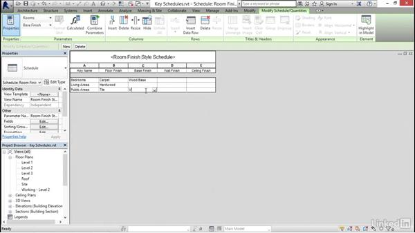 Creating a key schedule: Revit 2017: Essential Training for Architecture (Imperial)