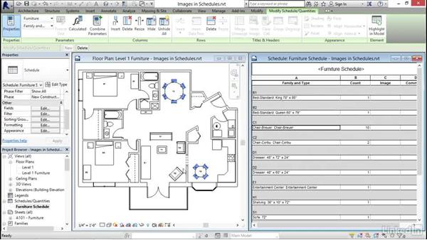 Using images in schedules: Revit 2017: Essential Training for Architecture (Imperial)