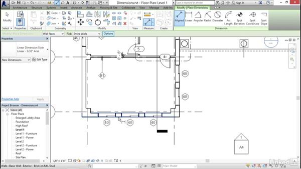 Adding dimensions: Revit 2017: Essential Training for Architecture (Imperial)