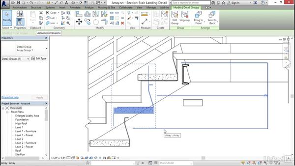 Using arrays to parametrically duplicate objects: Revit 2017: Essential Training for Architecture (Imperial)