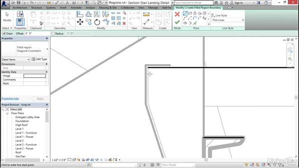 Adding filled and masking regions: Revit 2017: Essential Training for Architecture (Imperial)