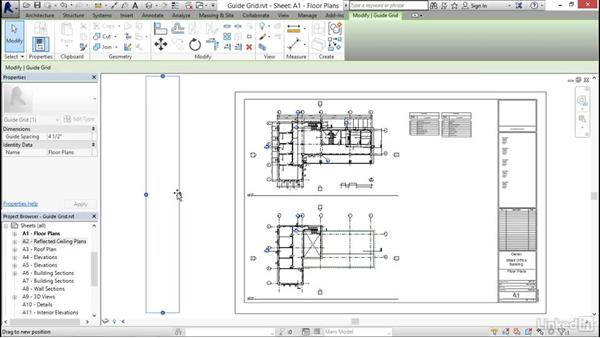 Aligning views with a guide grid: Revit 2017: Essential Training for Architecture (Imperial)